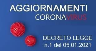 CORONAVIRUS - Misure valide dal 7 gennaio al 15 gennaio 2021